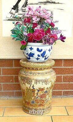 Vintage 2 Chinese Furniture Porcelain Satsuma Stool Plant Stand Side Table
