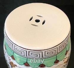 Vintage Asian Porcelain Garden Stool Table Floral & Bird Motif Hand Painted 19