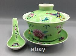 Vintage Chinese Famille Rose Gaiwan Tea Bowl Set Complete Super Condition