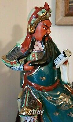 Vintage Chinese Famille Rose Porcelain Immortal Figurine Marked 12