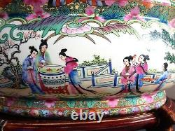 Vintage Chinese Handpainted Porcelain Oval Fish Bowl Planter Pot with Wood Stand