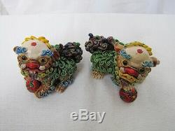Vintage Chinese Porcelain Pottery Foo Dog. Very unique and detail