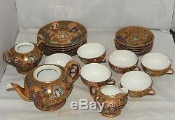 Vintage Entire 21 Piece Takito Japan Tt Handpainted Satsuma Tea Set Gold Moriage