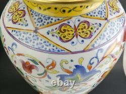 Vintage Frederick Cooper Hand Painted Chinoiserie Porcelain Floral Brass Lamp