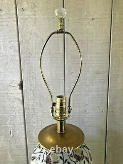 Vintage Frederick Cooper Hand Painted Porcelain Lamp Brass Crystal Final 16