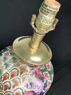 Vintage Frederick Cooper vase table lamp (set of 2) brass porcelain hand painted