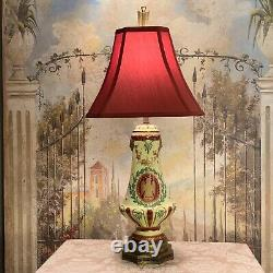 Vintage French Napoleonic Hand Painted Porcelain Lamp