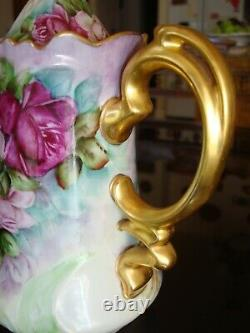 Vintage Hand Painted Bavaria Tray & Tea/coffee Pot, Sugar, Creamer, Roses & Gold
