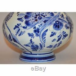 Vintage Hand Painted Blue & White Floral Porcelain Delft Vase Holland