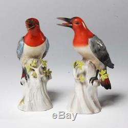 Vintage Hand Painted German Porcelain Near Pair Bird Figurines