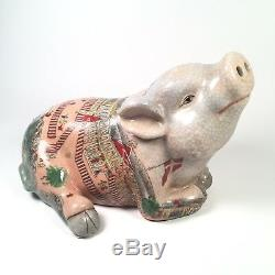 Vintage Hand Painted Porcelain Chinese Sleeping Pig Smiling Figurine Rare Find