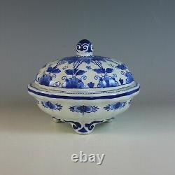 Vintage Hand-painted Porceleyne Fles Delft Blue Scalloped Covered Bowl