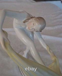 Vintage Herend Porcelain Nude Lady Figure Silk Scarf Dance Handpainted Hungarian