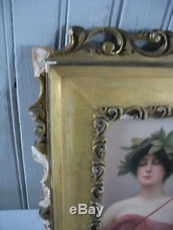 Vintage Hutschenreuther Hand Painted Porcelain Plaque Woman Daphne Signed Wagner