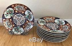 Vintage Japanese Porcelain Gold Imari Handpainted Red Blue Plates 12 set of 8