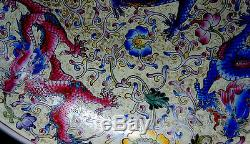 Vintage Large chinese dragon hand painting DISH c 1850