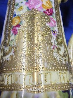 Vintage Nippon 14 Ewer Vase Floral Design Gold Beading Mark #52 Hand Painted