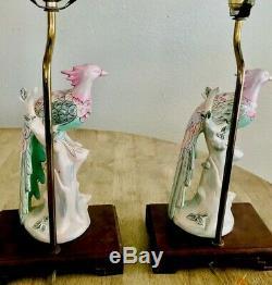 Vintage Pair (2) Antique Asian Hand Painted Famille Rose Bird Porcelain Lamps