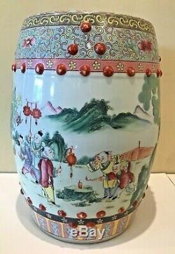 Vintage Pair Chinese Porcelain Garden Seat Stool Chinoiserie Hand Painted