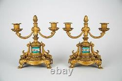 Vintage Pair French Sevres Style Hand Painted Porcelain Gilt Metal Candelabra