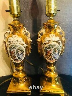 Vintage Pair Leviton Hand Painted Porcelain Gold Trim Table Lamp 12' Made in USA