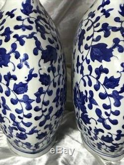 Vintage Pair Oriental Nanking Porcelain Blue & White Signed Flask Vases