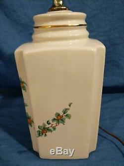 Vintage Porcelain Chinoiserie Hand Painted Table Lamps Peacocks Cream Green Blue