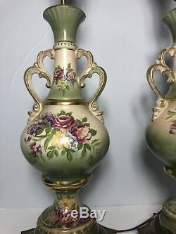 Vintage Porcelain Victorian Urn Lamps Hand Painted green gold table lamp pair