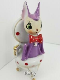 Vintage Purple Mama Doe Deer + 2 Baby Fawns Hand-Painted Porcelain Japan Tilso