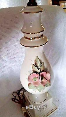 Vintage Table Lamp Floral Porcelain Applied Floral Blossom Handpainted