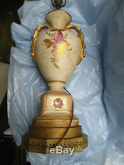 Vintage Urn Style Hand Painted Porcelain Raised Floral Table Lamp Gold Accents