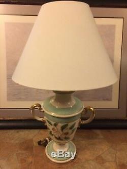 Vintage handpainted Floral White Pink Gold Green Porcelain Stiffel trophy Lamp