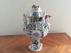 Volkstedt dresden sitzendorf vase handpainted figural VERY seldom porcelain