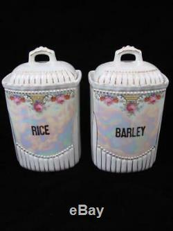 Vtg Antique Set of 15 Lusterware Porcelain Hand Painted German Spice Canisters