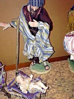 X-Large 12PC Hand Painted Fabric Clothing Porcelain NATIVITY Set