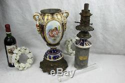 XXL 35 Vieux paris porcelain 1880 Petrol oil lamp Putti cherubs hand paint