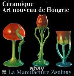 Zsolnay Handpainted Art Nouveau Big Green Blue Eosin Glaze Porcelain Poppy Vase